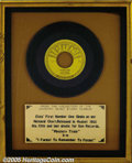 "Music Memorabilia:Recordings, Elvis ""Mystery Train"" b/w ""I Forgot to Remember to Forget"" Framed45 Sun 223 Display (1955). As the plaque affirms, this is ..."