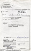 Music Memorabilia:Ephemera, Priscilla Presley Signed Document. Priscilla Beaulieu was the 14-year-old stepdaughter of an American air force officer when...