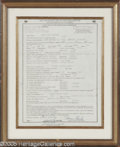 Music Memorabilia:Ephemera, Elvis Presley Signed Document. Here is a framed membershipapplication for the American Guild of Variety Artists, datedJune...