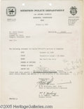 Music Memorabilia:Ephemera, Elvis Memphis Police Department Bill (1969). Here is a bill fromthe Memphis Police Department to Elvis Presley, dated Janua...