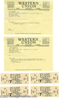 Music Memorabilia:Ephemera, Elvis Telegrams with Four Concert Tickets. Towards the end of his career, Elvis was playing a number of successful shows at ...