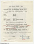 Memorabilia:Miscellaneous, Fred Allen Signed Contract. A single engagement agreement, dated February 27, 1952, between NBC and comedian Fred Allen allo...