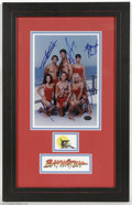 "Memorabilia:Miscellaneous, ""Baywatch"" Signed Photograph. A full-color 8"" x 10"" photo signed by actors David Hasselhoff, Pamela Anderson, Yasmine Bleeth..."