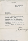 Hollywood Memorabilia:Autographs and Signed Items, Jack Benny Signed Letter. A radio and television pioneer and master of comedic timing, Jack Benny was one of the greatest co...