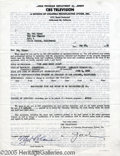 "Hollywood Memorabilia:Autographs and Signed Items, Mel Blanc Signed Contract (1952). An 8.5"" x 11"" single-page agreement for Mel Blanc, the man who created the voices of virtu..."