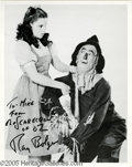 "Hollywood Memorabilia:Autographs and Signed Items, Ray Bolger Signed Photograph. A black-and-white promotional photo of Ray Bolger opposite Judy Garland as Dorothy in ""The Wiz..."