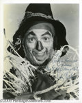 "Hollywood Memorabilia:Autographs and Signed Items, Ray Bolger Signed Photograph. A vintage promotional photo for the classic ""The Wizard of Oz"" signed by the Scarecrow himself..."