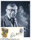 Hollywood Memorabilia:Autographs and Signed Items, George Burns Signed FDC With Photograph. Here a first day cover ofa stamp honoring composer George M. Cohan, postmarked Jul...