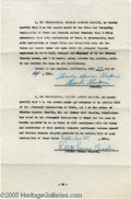 Hollywood Memorabilia:Autographs and Signed Items, Charlie Chaplin Signed Document. Here is the signature page of the declaration of trust relating to the divorce of Charles a...
