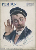 Hollywood Memorabilia:Autographs and Signed Items, Chester Conklin Signed Magazine. A copy of the September 1916 issue of Film Fun magazine signed by silent-era comedian a...