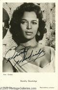 "Hollywood Memorabilia:Autographs and Signed Items, Dorothy Dandridge Signed Photograph. A 3"" x 5"" black-and-whitepicture postcard signed by the ""Porgy and Bess"" actress. Wi..."