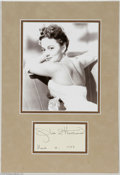 "Hollywood Memorabilia:Autographs and Signed Items, Olivia de Havilland Autograph. Signature sample dated March 12,1977, and matted along with a 5"" x 6"" black-and-white photo ..."