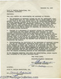 Hollywood Memorabilia:Autographs and Signed Items, Cecil B. DeMille Signed Contract. A one-page contract, datedNovember 22, 1950, negotiating the use of cinematographer and v...