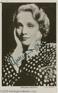 "Hollywood Memorabilia:Autographs and Signed Items, Marlene Dietrich Signed Photograph and Other Female Star SignedPhotos. Featured in this lot is a vintage 3"" x 5"" photo sign... (7Items)"