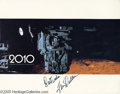 "Memorabilia:Miscellaneous, Keir Dullea Signed Lobby Cards. Two signed promotional photos for the sci-fi film ""2010"" signed by actor Keir Dullea. With..."
