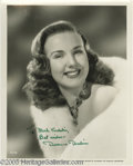 Memorabilia:Miscellaneous, Deanna Durbin Signed Photograph. A talented and successful child star during the '30s and '40s, Deanna Durbin retired at 27 ...