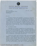 Hollywood Memorabilia:Autographs and Signed Items, Errol Flynn Signed Letter. A three-page, typed letter on SavoyHotel London stationery, dated July 3, 1952, to Albert Blum r...