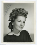 "Hollywood Memorabilia:Autographs and Signed Items, Joan Fontaine Signed Photograph. An 8"" x 10"" black-and-white photosigned by the ""Rebecca"" actress in black ink. With COA ..."