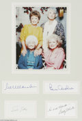 "Hollywood Memorabilia:Autographs and Signed Items, ""Golden Girls"" Autograph Lot. Signature samples from sitcom starsRue McClanahan, Bea Arthur, Estelle Getty, and Betty White..."