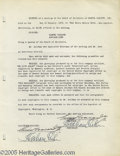 Memorabilia:Miscellaneous, Samuel Goldwyn Signed Minutes. Minutes from a Samuel Goldwyn, Inc.board meeting, dated January 1935, and signed by Goldwyn ...