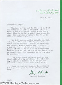 Margaret Hamilton Signed Letter. A July 30, 1975, letter typed and signed by the actress (she played the Wicked Witch of...