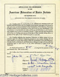 Memorabilia:Miscellaneous, Neil Hamilton Signed Document. Holy obscure artifact, Batman! An application for membership in the American Federation of Ra...