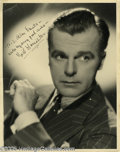 """Hollywood Memorabilia:Autographs and Signed Items, Neil Hamilton Signed Photograph. Matte-finish 11"""" x 14"""" portrait of the actor as a young man, wearing a pin-striped suit and..."""