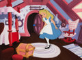 Animation Art:Production Cel, Alice in Wonderland Production Cel with Custom Painted Background (Walt Disney, 1951)....