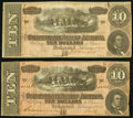 Confederate Notes:1864 Issues, T68 $10 1864 PF-8 Cr. UNL;. T68 $10 1864 PF-10 Cr. 543.. Fine.. ... (Total: 2 notes)