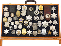 Large Collection of 48 Law Vintage Law Enforcement Badges, Circa Late 19th Century to Mid-Twentieth Century
