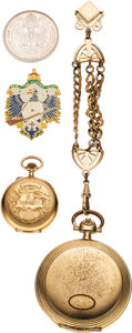 Arms Accessories:Flasks, Schützenfest: Lot of Two German Shooting Related Pocket Watches And Two Shooting Medals....