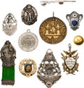 Arms Accessories:Flasks, Schützenfest: Lot of 11 Miscellaneous German Shooting Related Medals, Badges, Pins, Button, 1875-Mid 20th Century....