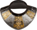 Militaria:Armor, Etched and Gilded Gorget with Leather Trim, 16th Century....