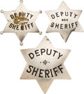 Militaria:Insignia, Group of Three Deputy Sheriff Badges....