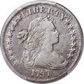 Early Dollars, 1797 $1 9x7 Stars, Large Letters, B-1, BB-73, R.3 -- Cleaning -- PCGS Genuine. VF Details....