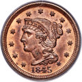 Large Cents, 1845 1C N-10, R.3, MS64 Red and Brown PCGS. CAC....