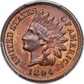 Indian Cents, 1894 1C Repunched Date MS64 Red and Brown PCGS. FS-301....