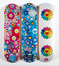 Prints & Multiples, Takashi Murakami X ComplexCon. Multi Flower 8.0 Skate Decks (Blue, Pink, and White) (three works), 2017. Screenprints in... (Total: 3 Items)