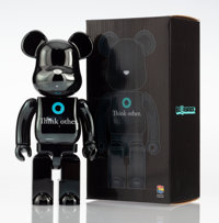 BE@RBRICK X I AM OTHER Think Other 400% (Black), 2017 Painted cat resin 10-3/4 x 5 x 3-1/2 inches