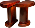 Furniture , A Pair of French Art Deco Mahogany Demilune Consoles, circa 1930. 33 x 41-1/4 x 18-1/2 inches (83.8 x 104.8 x 47.0 cm). ... (Total: 2 Items)