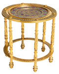 Furniture , A Circular Gilt Metal Side Table with Inset Pierced, Enameled, and Gilt Silver Tray, early 20th century and later. 19-1/4 x ...