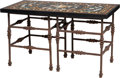 Furniture , A Pietra Dura Table Top with Iron Base, 20th century . 26 x 45-3/8 x 22-3/8 inches (66.0 x 115.3 x 56.8 cm). ...