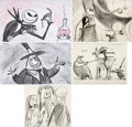 Animation Art:Production Drawing, The Nightmare Before Christmas Storyboard Art Group of 5(Touchstone/Disney, 1993)....