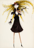 "Animation Art:Production Drawing, Tim Burton ""Girl in a Little Black Dress"" Illustration (c.1978-80)...."
