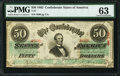 Confederate Notes:1863 Issues, T57 $50 1863 PF-8 Cr. 414 PMG Choice Uncirculated 63.. ...