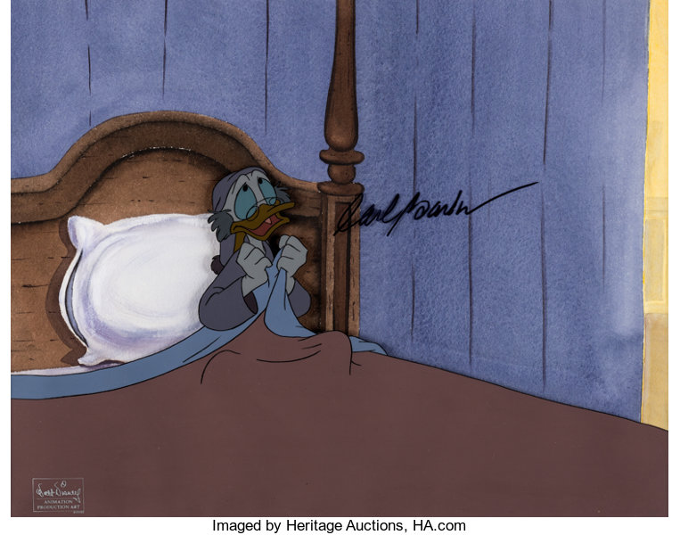 Scrooge Mcduck Christmas.Mickey S Christmas Carol Scrooge Mcduck Production Cel Signed By Carl Barks With Custom Background Wal