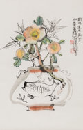 Asian:Chinese, After Cheng Shifa (Chinese, 1921-2007). Fishbowl and Flowers. Ink and color on paper. 26-1/2 x 17-1/2 inches (67.3 x 44....
