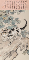 Asian:Chinese, Attributed to Xu Beihong (Chinese, 1863-1957). Two Cats and Calligraphy. Ink and color on paper. 46-1/2 x 22-1/4 inches ...