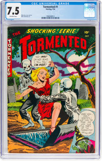 Tormented #1 (Sterling, 1954) CGC VF- 7.5 Off-white pages