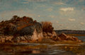 Fine Art - Painting, American, Winckworth Allan Gay (American, 1821-1910). South Shore (WhiteHead, Cohasset), 1876. Oil on board. 8 x 12 inches (20.3 ...